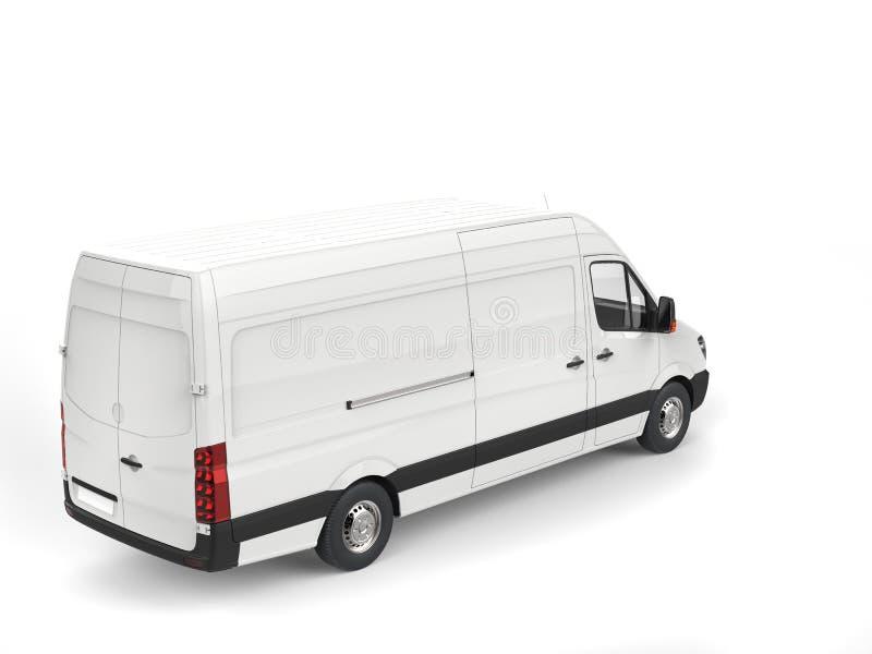 清洗白色现代送货车-冠上在看法下 向量例证