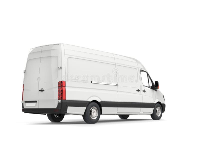 清洗白色现代送货车-背面图 库存例证