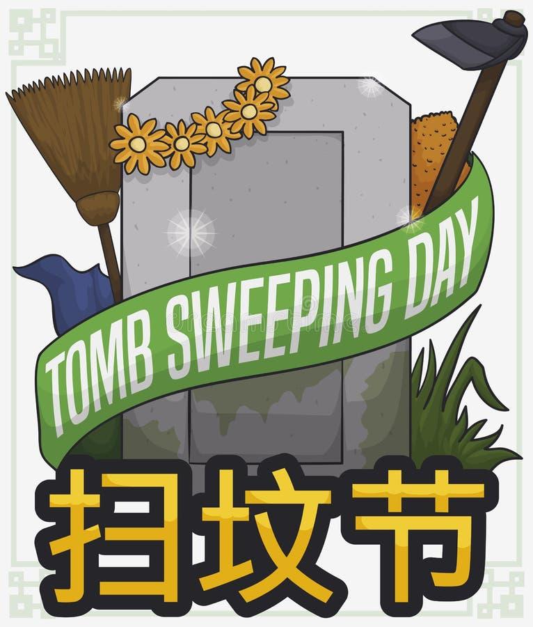 清洗的元素和墓碑准备好在中国坟茔广泛天,传染媒介例证 皇族释放例证