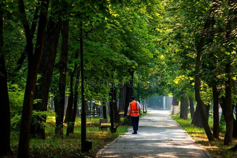 清洗的叶子在城市,清扫叶子的管理员在城市公园 有笤帚的一个道路清扫工,工作安置和共同 图库摄影