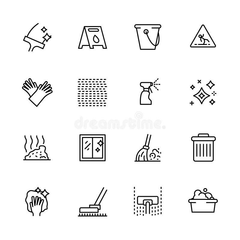 清洗的家和办公室概述象简单的符号集 包含这样象窗口和地板洗涤物,吸尘器 库存例证