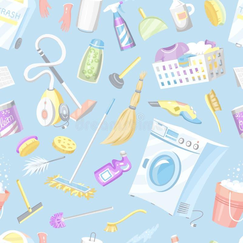 清洗的工具无缝的样式 议院象背景 r 库存例证