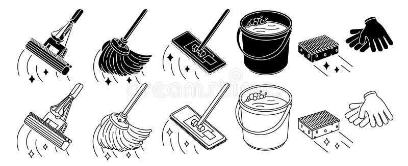 清洗的工具箱,拖把,桶稀薄的线象,隔绝在白色 也corel凹道例证向量 库存例证