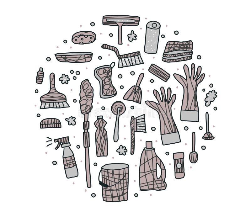 清洗的工具 传染媒介套清洗的设备 皇族释放例证