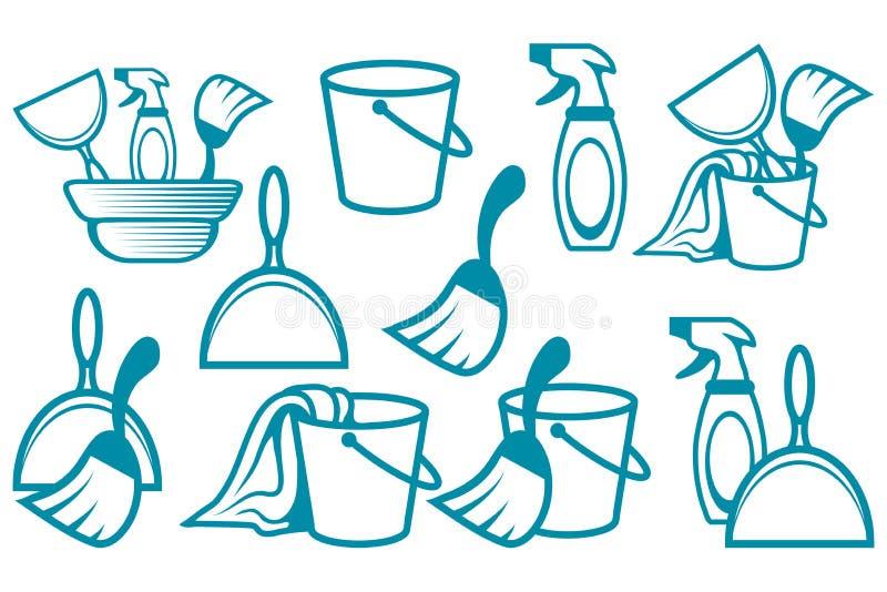 清洗的服务商标、清洗的公司商徽、传染媒介例证网的和机动性 向量例证