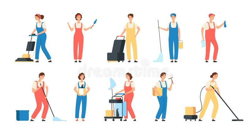 清洗的服务工作者 男女更加干净的佣人擦地板蜡洗衣机家庭设备传染媒介 库存例证