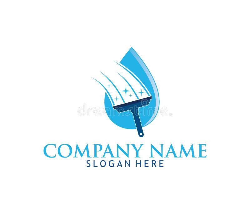 清洗的洗涤的服务家庭维护传染媒介商标设计 库存例证