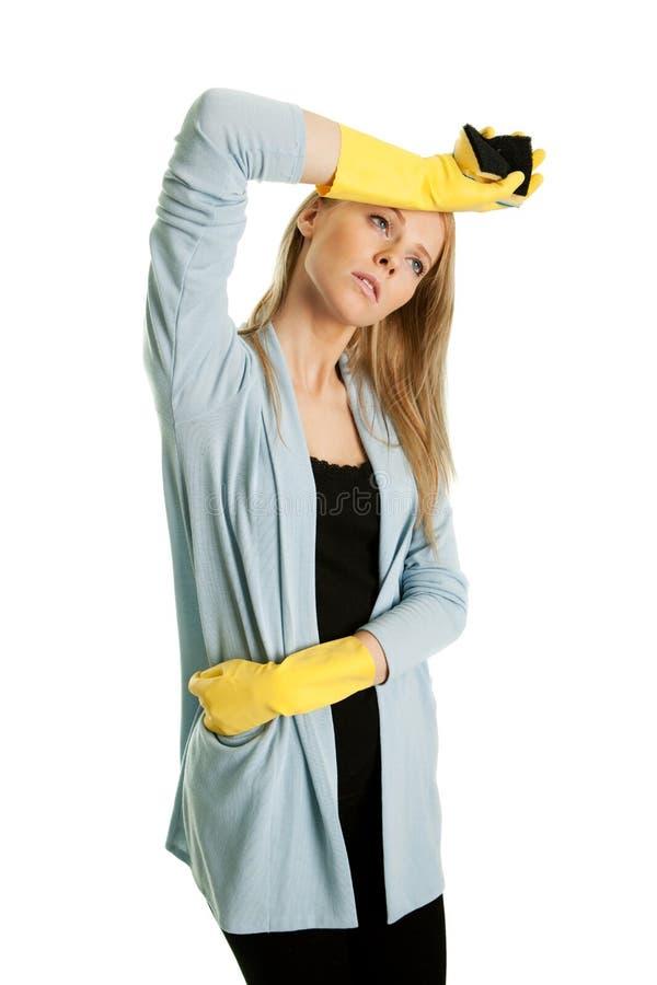 清洗的用尽的定期妇女 库存图片
