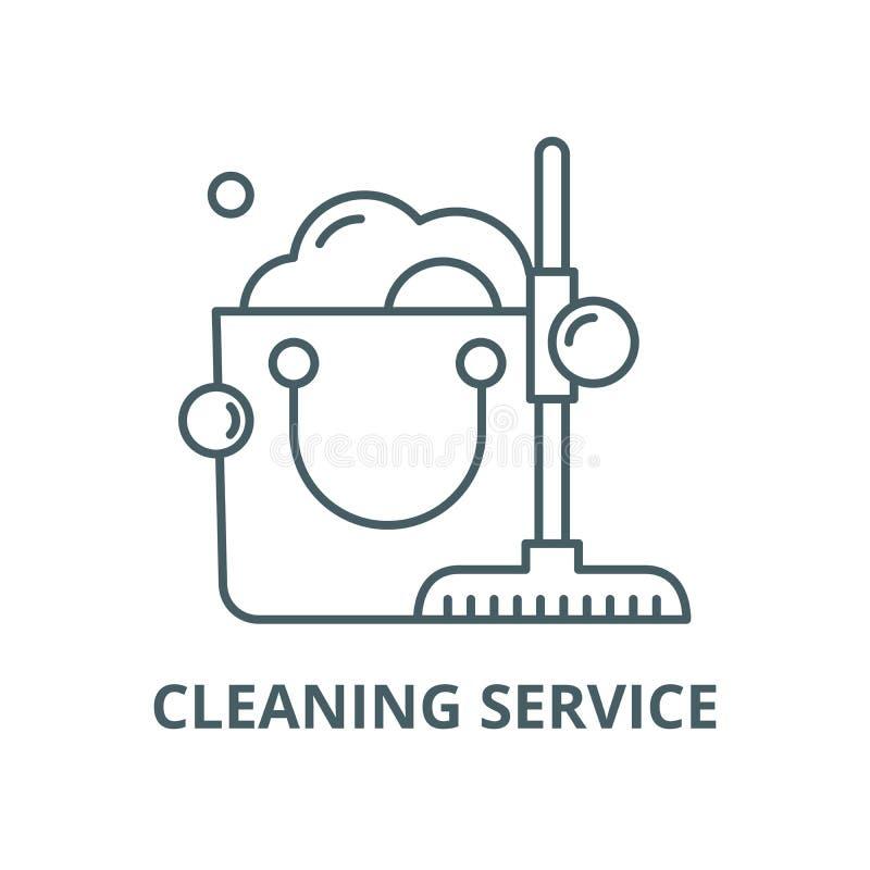 清洗的用户线路象,传染媒介 清洗的服务概述标志,概念标志,平的例证 库存例证