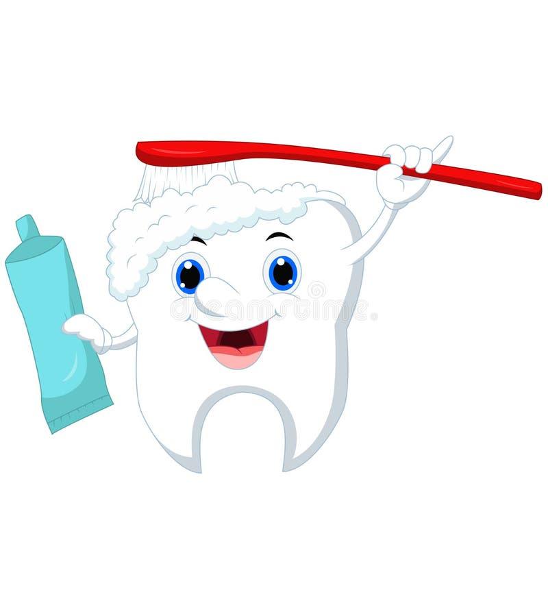 清洗的逗人喜爱的动画片牙与刷子和牙膏 向量例证