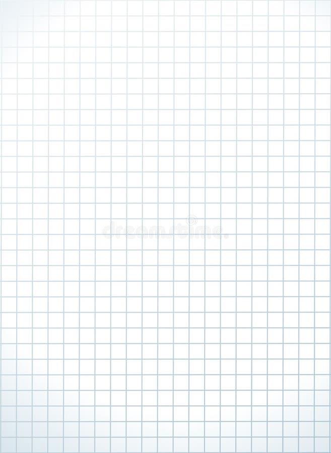 清洗笔记本写的栅格页 白色学校方格纸板料模板 库存例证