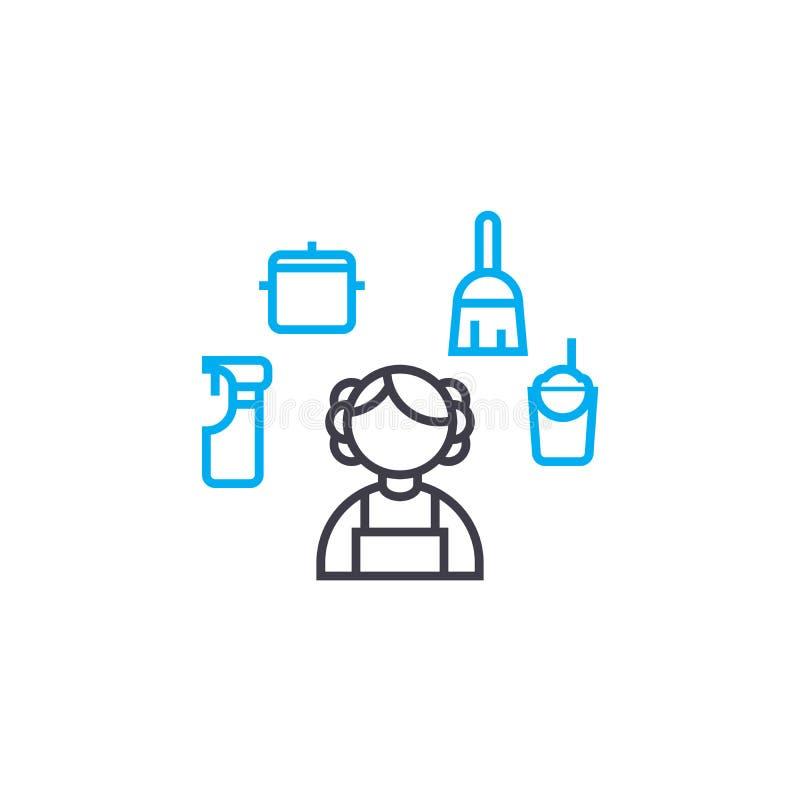 清洗线性象概念的议院 安置清洁线传染媒介标志,标志,例证 库存例证
