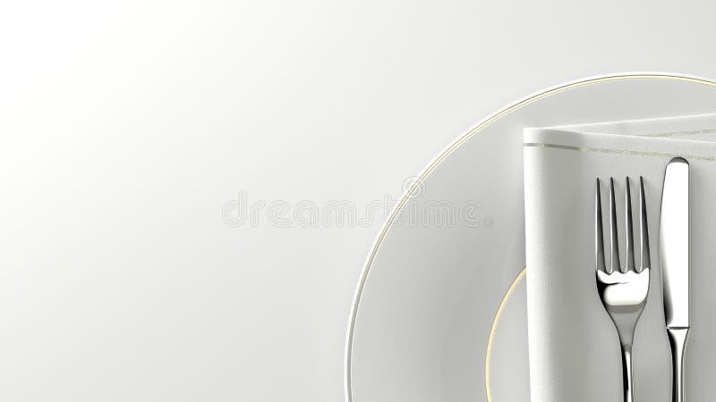 清洗设计扁平的餐具板材和桌与空的空间 3d翻译 向量例证