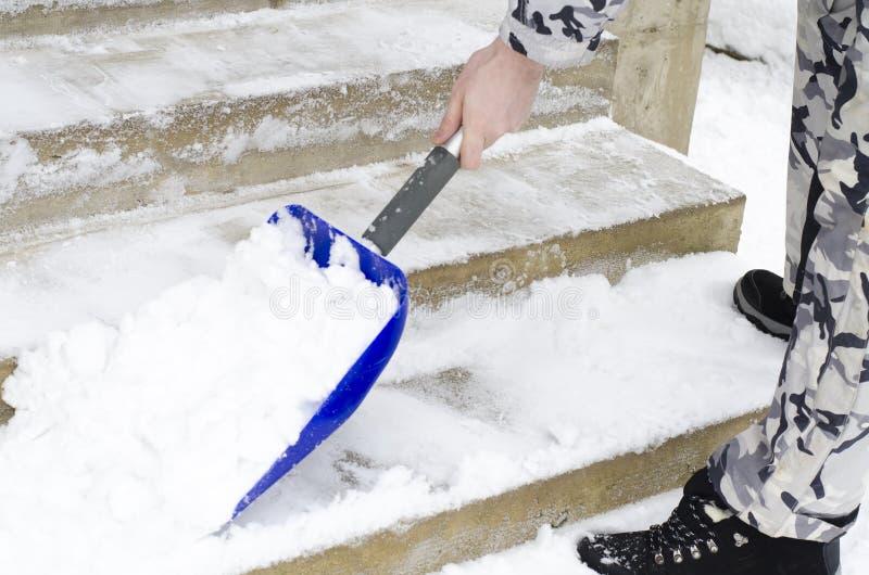 清洗雪 清除在冬时通过铁锹 免版税图库摄影