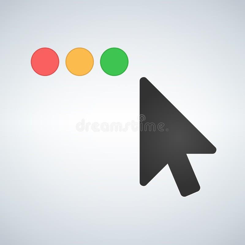 清洗OS或网多色按钮与老鼠游标 关闭使整个银幕的徒升减到最小并且扩展按钮 平的传染媒介例证 向量例证