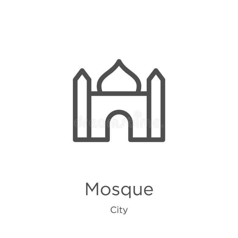 清真寺从城市汇集的象传染媒介 稀薄的线清真寺概述象传染媒介例证 概述,稀薄的线清真寺象为 库存例证