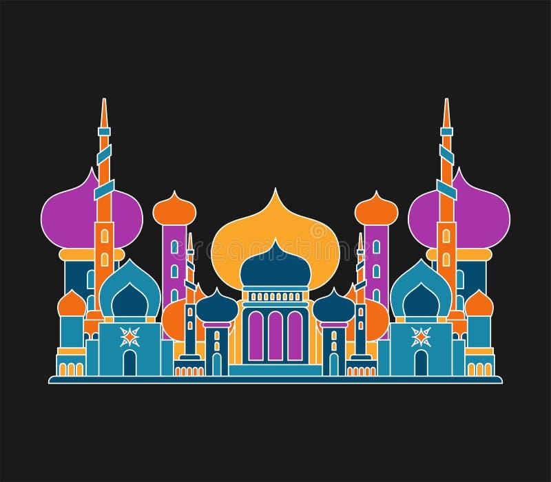清真寺伊斯兰教的宗教大厦 Musli的传染媒介例证 库存例证