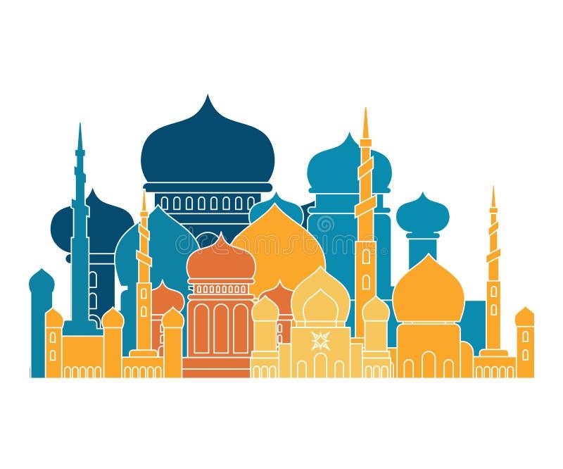 清真寺伊斯兰教的宗教大厦 Musli的传染媒介例证 向量例证