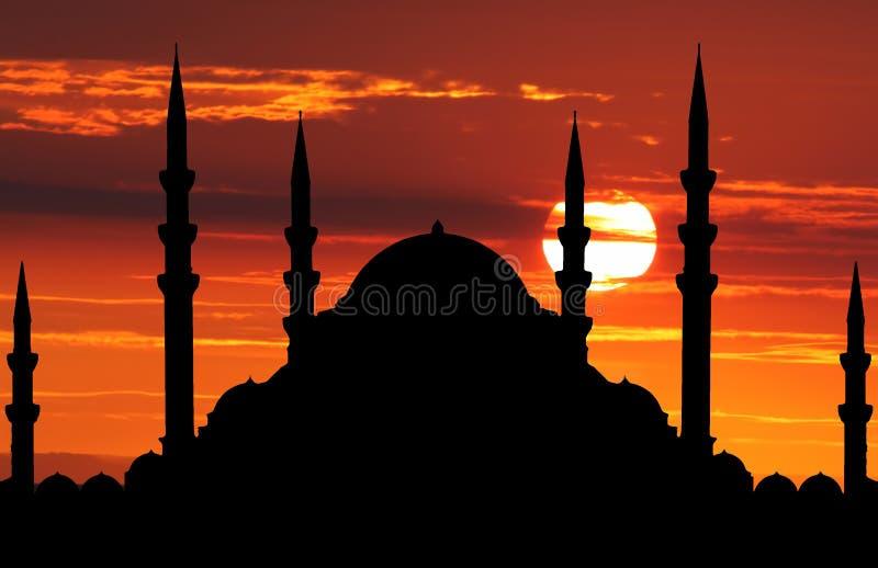 清真寺剪影  图库摄影