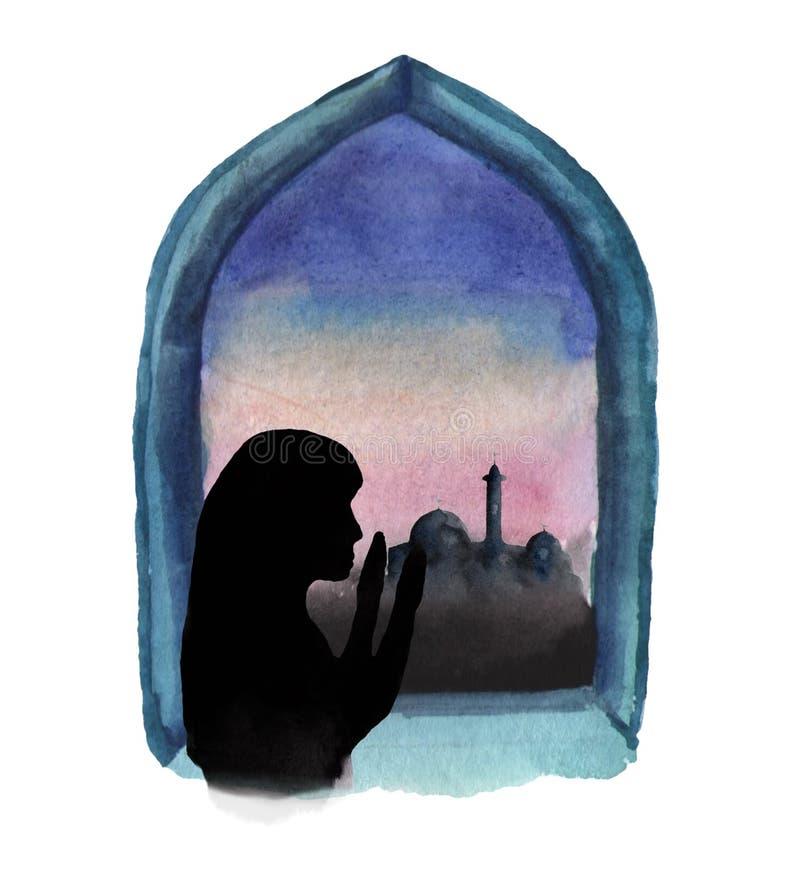 清真寺和日出是可看见的窗口的水彩例证,一名回教妇女祈祷,斋月 皇族释放例证