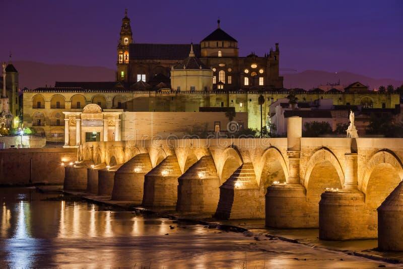 清真寺大教堂和罗马桥梁在科多巴 图库摄影