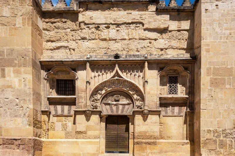清真寺大教堂在科多巴,西班牙 外墙门面视图 库存照片