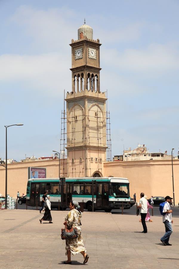 清真寺尖塔在卡萨布兰卡,摩洛哥 免版税库存图片