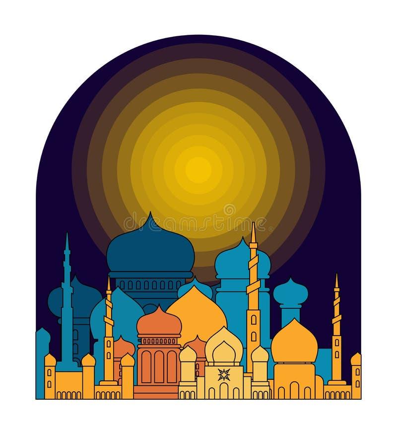 清真寺是夜 伊斯兰教的宗教大厦 回教假日Eid 皇族释放例证