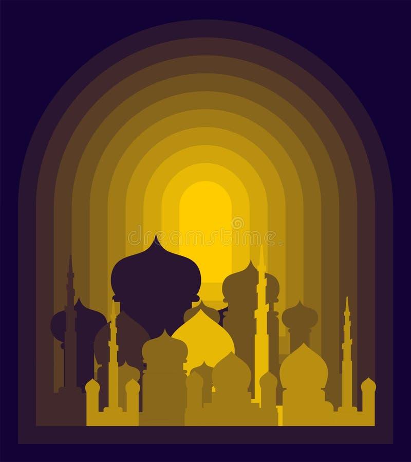 清真寺是夜 伊斯兰教的宗教大厦 回教假日Eid 向量例证