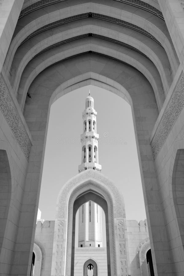 清真寺,阿曼尖塔  免版税库存照片