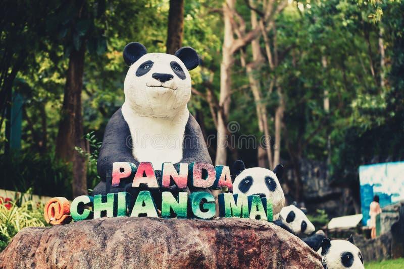 清迈夜有受欢迎的旅游胜地的大熊猫的一徒步旅行队动物园在泰国 库存照片