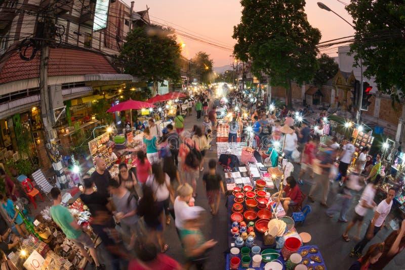 清迈市场走的街道 库存照片