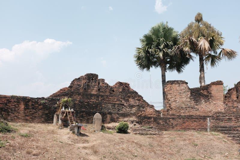 清迈泰国老城市墙壁  免版税库存图片