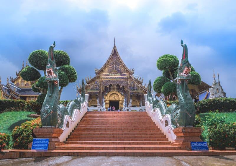 清迈,泰国- 2017年8月20日, :禁令小室寺庙是位于在泰国的北部它是一个的泰国寺庙 免版税库存图片