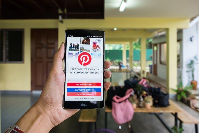 清迈,泰国- 9月21,2016 :与社会互联网的LG G4 库存图片