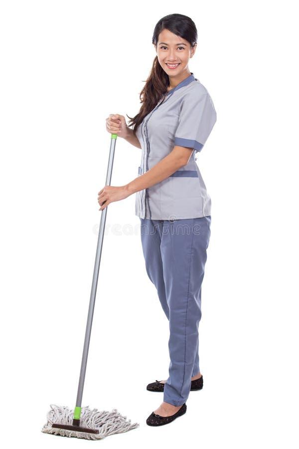 清洁佣人妇女拖把地板 免版税图库摄影