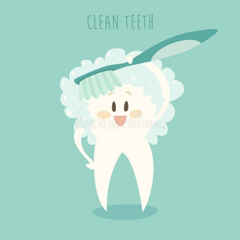 清洗健康白色牙传染媒介例证 库存例证