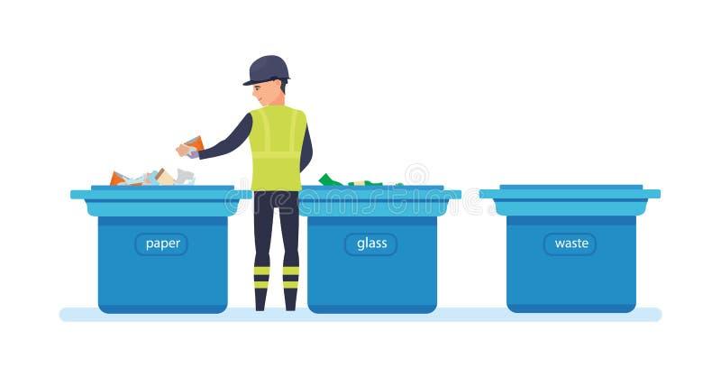 清洁城市 家庭废物,回收 服务的雇员收集垃圾 库存例证