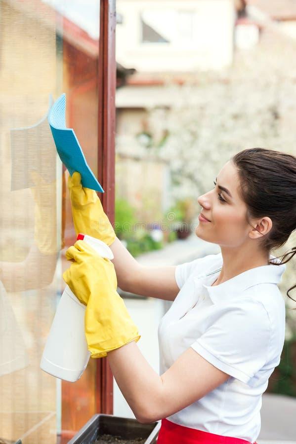 清洁女工工作 库存照片