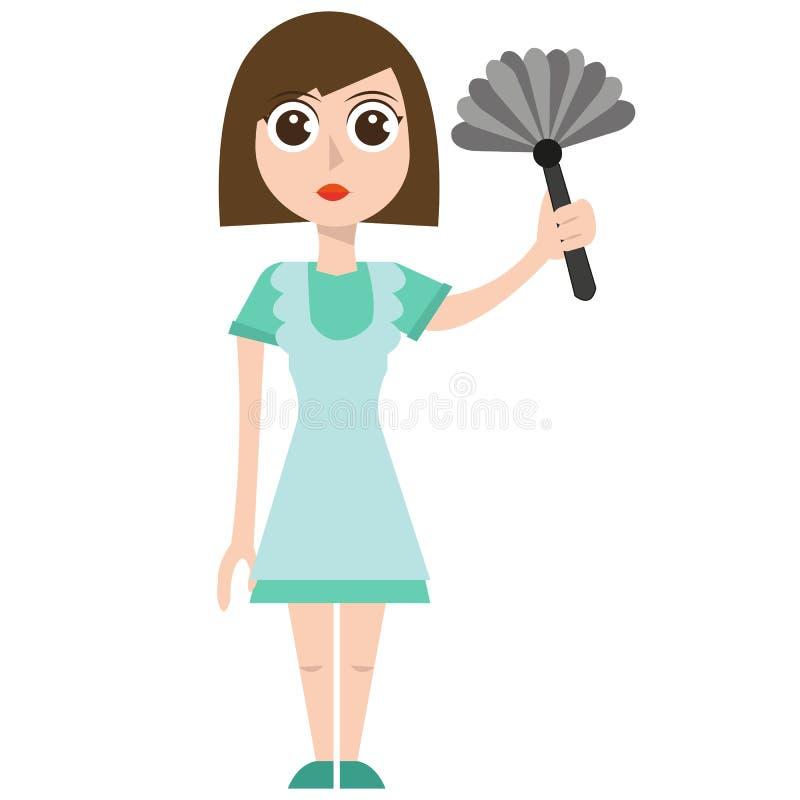 清洁女仆, eps,传染媒介,例证,被隔绝 向量例证