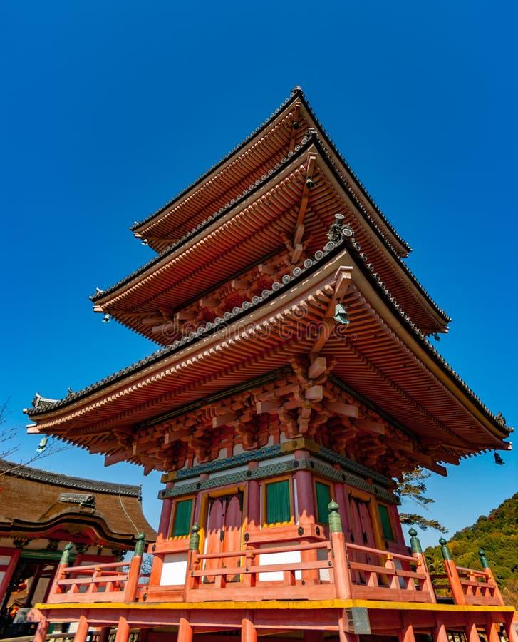 清水寺寺庙的塔在京都 库存图片