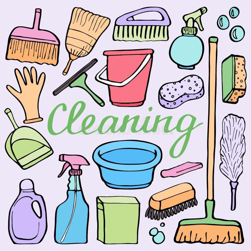 清洁工具箱 房子清洁材料-桶,海绵,拖把,手套,浪花,刷子的手拉的动画片收藏 皇族释放例证