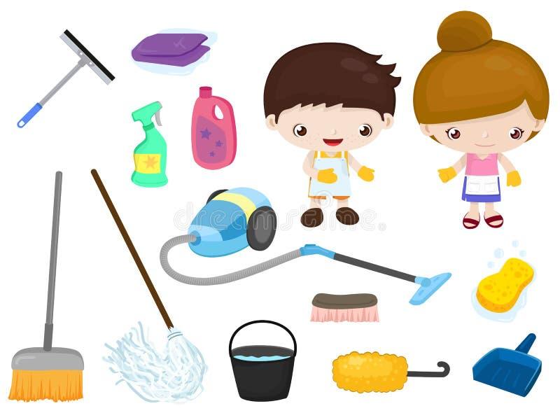 清洁工具-被设置的孩子 库存例证