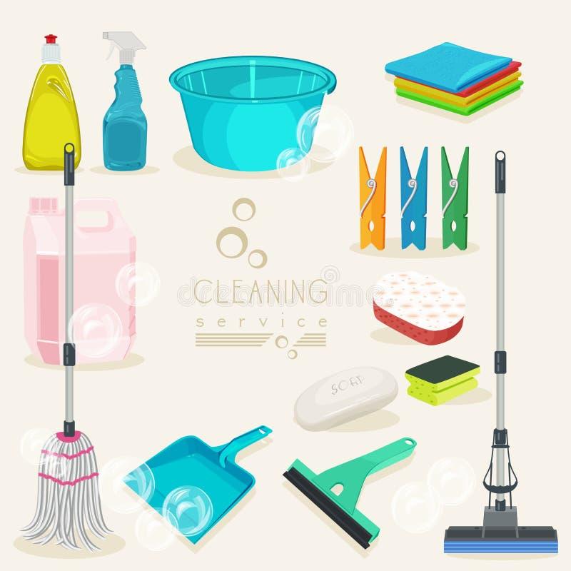 清洁成套工具象 五颜六色的供应 向量例证
