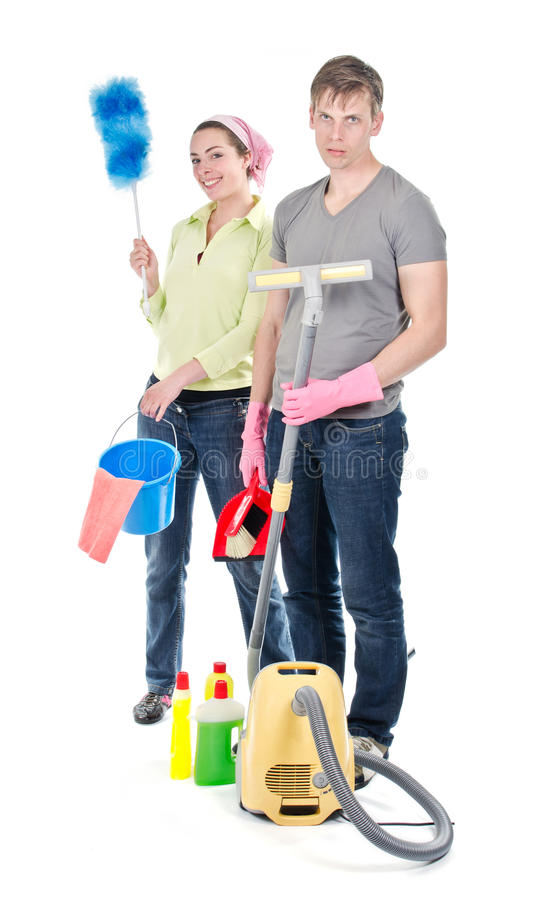 清洗房子的夫妇 库存图片