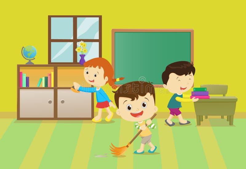 清洗教室的孩子的例证 库存例证