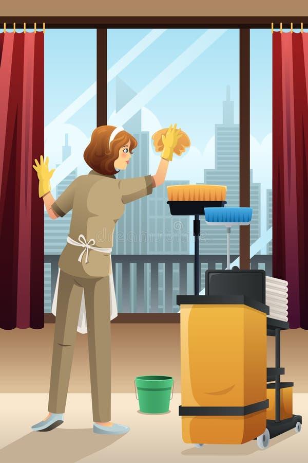 清洗旅馆客房的旅馆管理员 库存例证