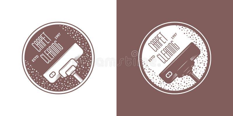 清洁服务传染媒介葡萄酒商标 向量例证