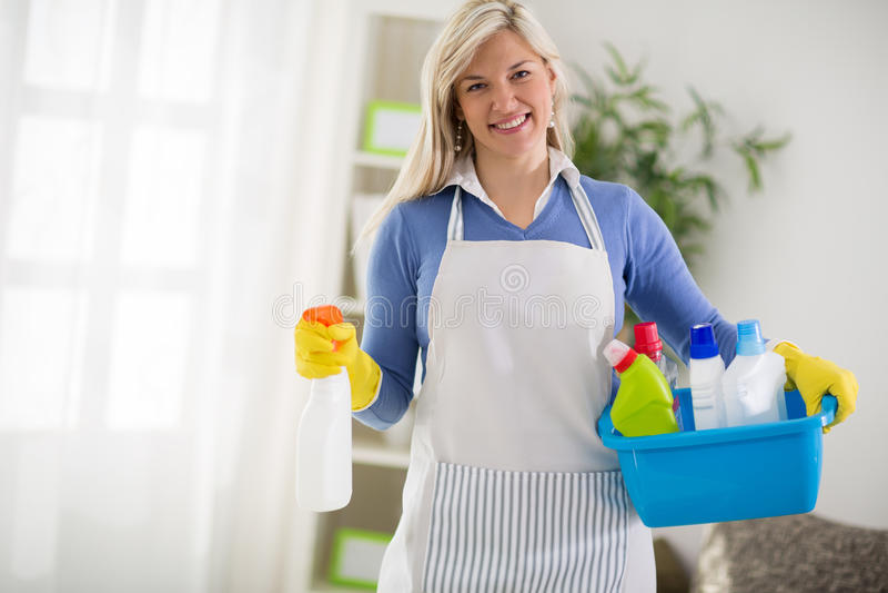 从清洁服务的妇女 免版税库存图片