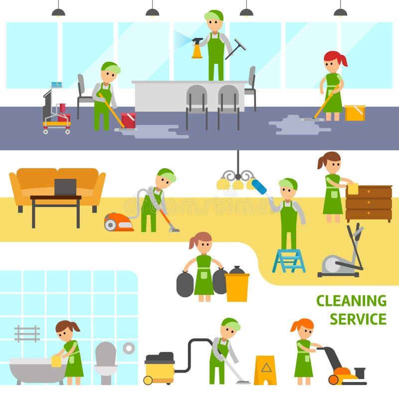 清洁服务infographic元素 擦净人导航平的例证 向量例证
